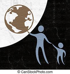 criança, mundo, proteja, símbolo