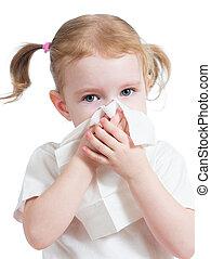 criança, nariz limpando, com, tecido, isolado, branco
