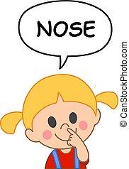 criança, nariz