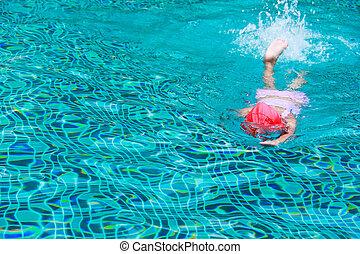 criança, natação, ligado, um, água azul, piscina
