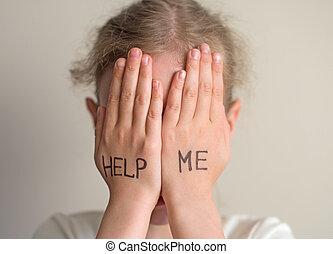 criança, necessidade, help., menininha, crying.
