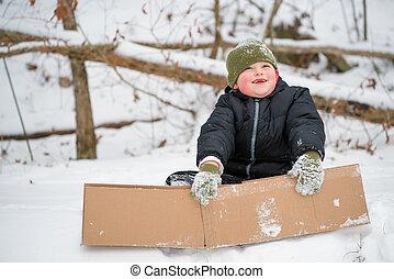criança, neve, tocando