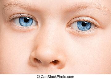 criança, olhos