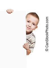 criança, painél publicitário, segurando, em branco