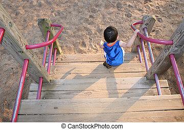 criança, parque, menino