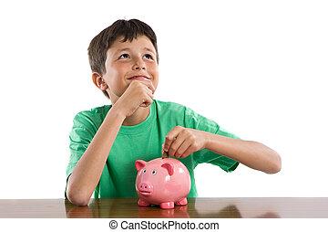criança, pensando, que, comprar, com, seu, poupança