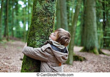 criança pequena, abraçar, tronco árvore