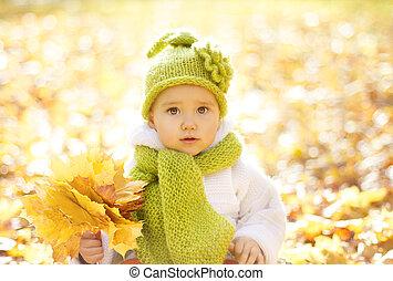 criança pequena, amarelo sai, outono, outono, bebê, retrato