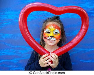 criança pequena, com, leão, pintura cara