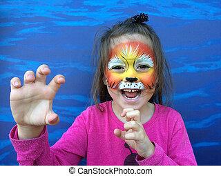 criança pequena, quadro, leão, rosto