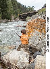 criança, pesca, em, a, river.