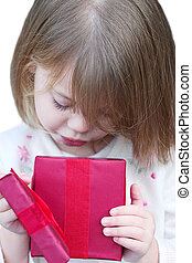 criança, presente, abertura