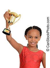 criança preta, com, ginástica, troféu