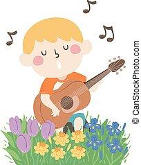 criança, primavera, canção, ilustração, menino