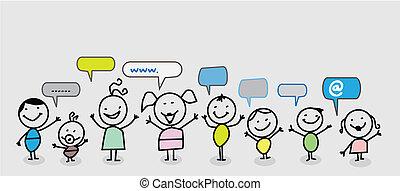 criança, rede, social