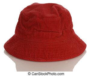 criança, reflexão, fundo, bebê, chapéu branco, ou, vermelho