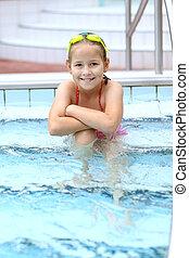 criança, relaxante, piscina, natação