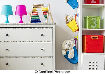 criança, sala, brinquedos