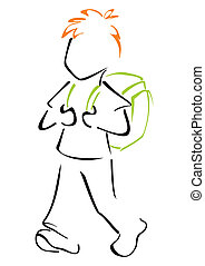 criança, schoolbag