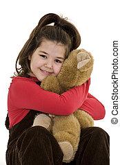 criança, segurando urso teddy