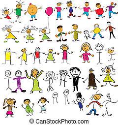 criança, semelhante, desenhos