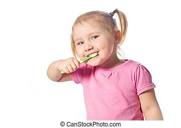 criança, seu, escove dentes