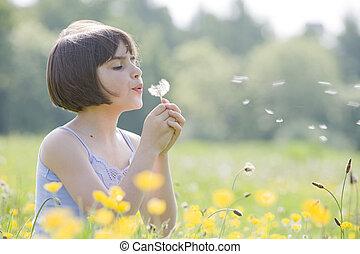 criança, soprando, dandelion2956
