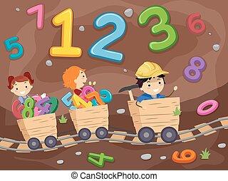 criança, stickman, subterrâneo, mineração, números