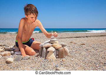 criança, tocando, ligado, um, praia