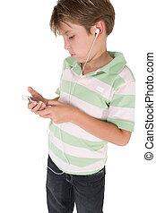 criança, usando, um, mp3, jogador música