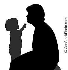 criança, wants, queixo, toque, avó
