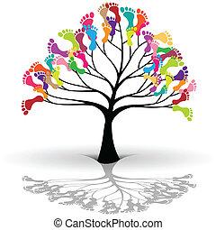 crianças, árvore