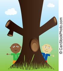crianças, árvore, natureza