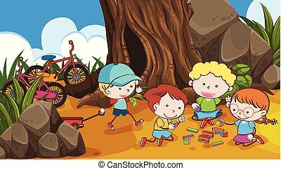 crianças, árvore, tocando