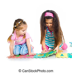 crianças, é, tocando, letras