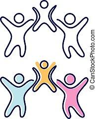 crianças, abstratos, pessoas, três, símbolo, vetorial, ícone