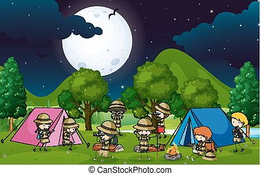 crianças, acampamento, muitos, madeiras, noite