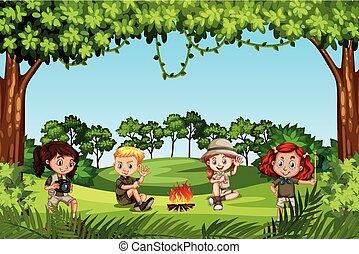crianças, acampamento, natureza