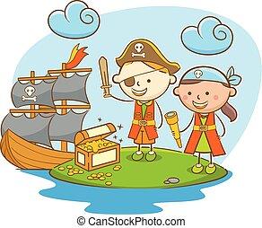 crianças, achando, tesouro, pirata