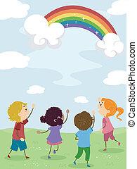 crianças, admirar, um, arco íris