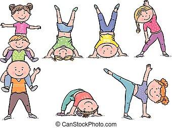 crianças, aeróbica
