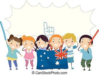 crianças, alegria, bolha, stickman, fala, australiano
