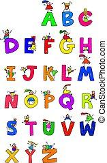 crianças, alfabeto
