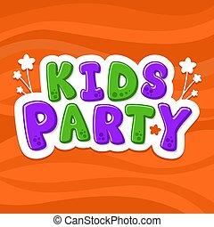 crianças, alphabet., ilustração, letters., vetorial, partido., caricatura
