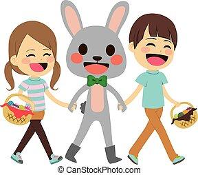 crianças, andar, bunny easter