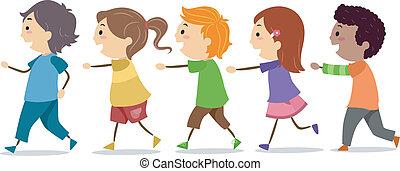 crianças, andar, em, um, linha
