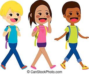 crianças, andar, escola