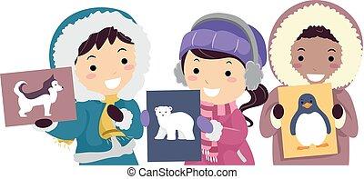 crianças, animais, ártico, flash, stickman, cartão