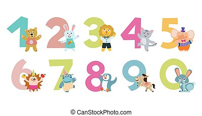 crianças, animais, ilustração, vetorial, números, caricatura