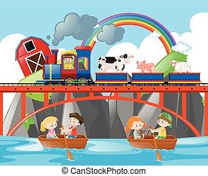 crianças, animais, remar, trem, barcos, montando